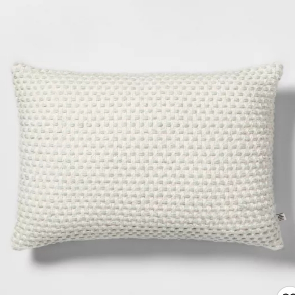 "14"" x 20"" Woven Texture Throw Pillow Sour Cream/Li"
